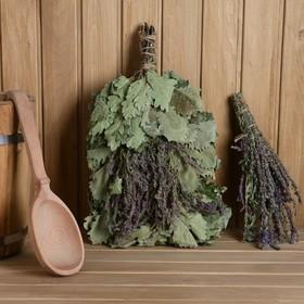 """Веник для бани дубовый, 55 см """"Лавандовый прованс"""" с букетом лаванды"""
