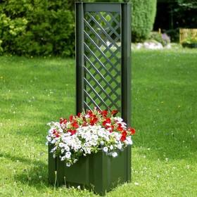 Шпалера, 140 см, с ящиком для растений, 44 л, зелёная