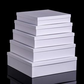 "Набор коробок 5 в 1 ""Белая штукатурка"", 34 х 34 х 9 - 26 х 26 х 5 см"