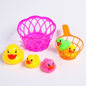Набор для купания «Уточки в корзине», с сачком, цвет МИКС