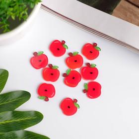 """Декор для творчества акрил """"Красное яблоко"""" набор 10 шт блеск 1,8х1,8 см"""