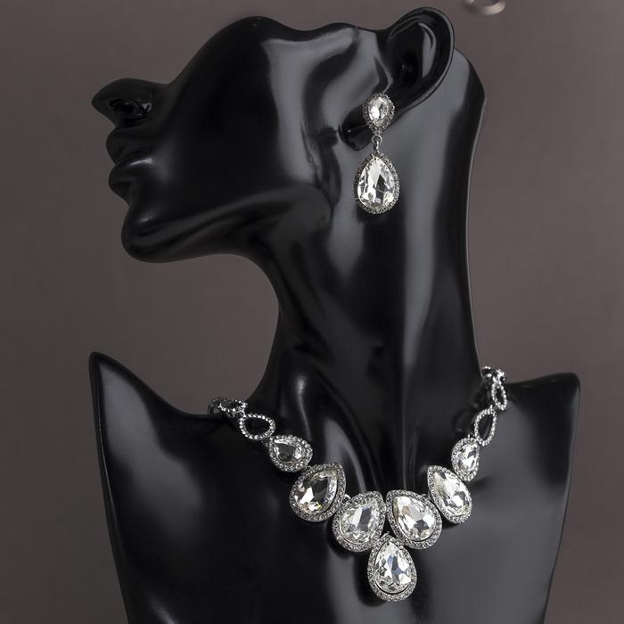 """Набор 2 предмета: серьги, колье """"Шальная императрица"""" капелька, цвет белый в серебристом металле"""