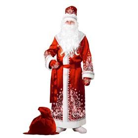 Карнавальный костюм «Дед Мороз», сатин, аппликация, р. 54-56, цвет красный