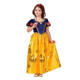 Карнавальный костюм «Принцесса Белоснежка», текстиль-принт, платье, повязка, р. 34, рост 134 см