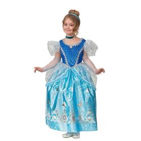 Карнавальный костюм «Принцесса Золушка», текстиль-принт, платье, перчатки, брошь, р. 28, рост 110 см