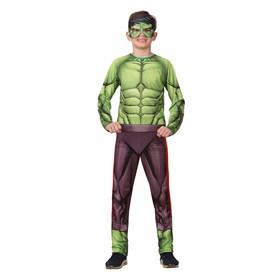 Карнавальный костюм «Халк» без мускулов, текстиль, куртка, брюки, маска, р. 34, рост 134 см