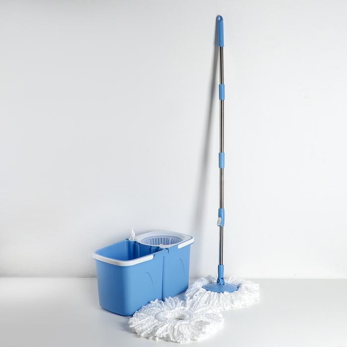 Набор для уборки: швабра, ведро складное с пластиковой центрифугой 10 л, дозатор