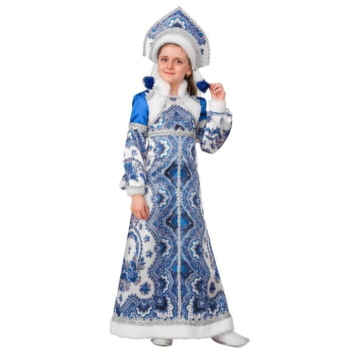 Карнавальный костюм «Снегурочка Варвара», платье, головной убор, р. 34, рост 134 см