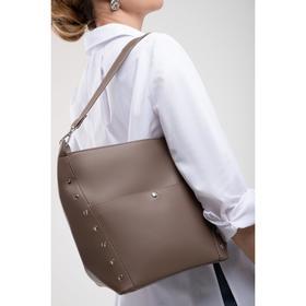 Сумка женская, отдел на молнии, 2 наружных кармана, длинный ремень, цвет серый - фото 50178