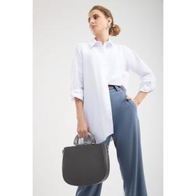 Сумка женская, отдел на молнии, наружный карман, длинный ремень, цвет серый - фото 50200