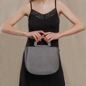 Сумка женская, отдел на молнии, наружный карман, длинный ремень, цвет серый - фото 50201