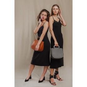 Сумка женская, отдел на молнии, наружный карман, длинный ремень, цвет серый - фото 50202