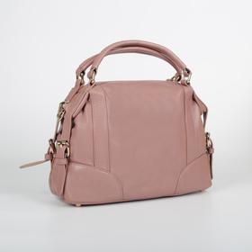 Сумка женская, отдел на молнии, наружный карман, длинный ремень, цвет розовый