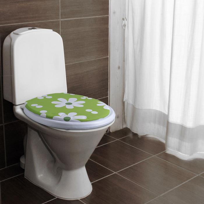 """Сиденье для унитаза, мягкое """"Белые цветы на зеленом"""""""