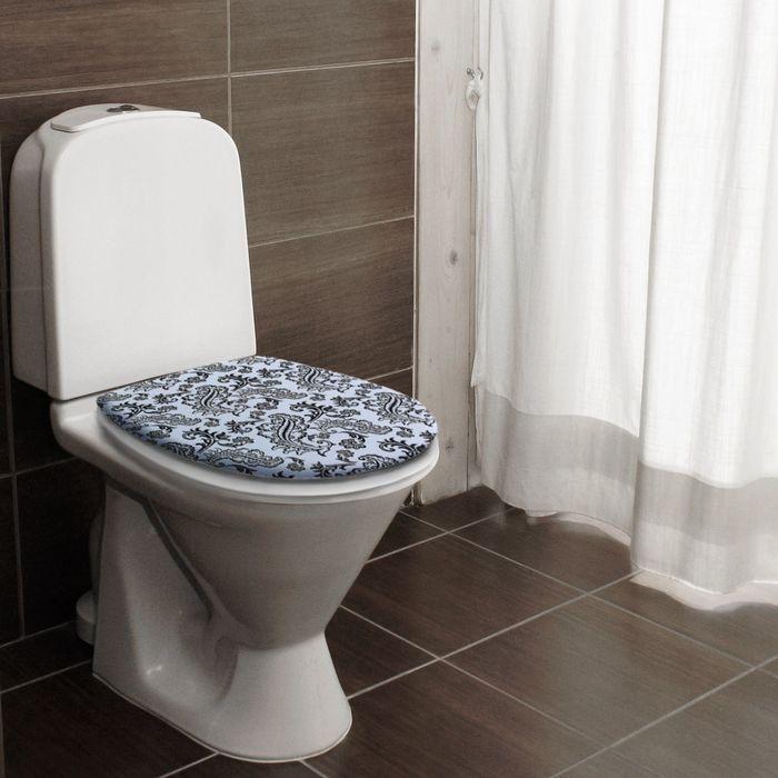 """Сиденье для унитаза, мягкое """"Черный узор на белом"""""""