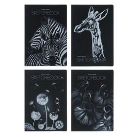 Тетрадь-скетчбук А5, 40 листов Bruno Visconti, блок чёрная бумага 70 г/м2, МИКС