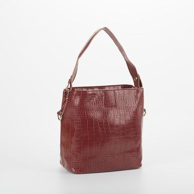 Bag wives 3332, 22*13,5*23, otd button, the Euro partition, long strap,Bordeaux