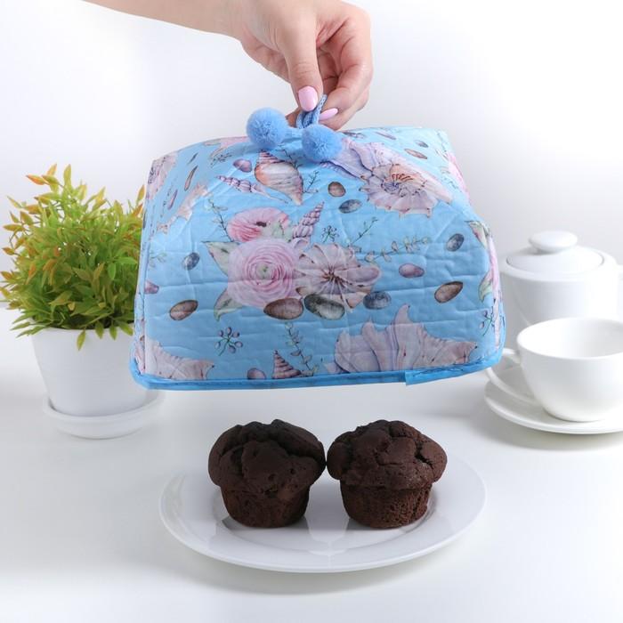 """Термокрышка для еды 21×21×12 см """"Морские цветы"""""""