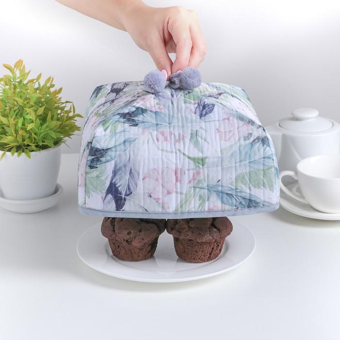 """Термокрышка для еды 21×21×12 см """"Тропический цветок"""""""