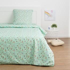 Детское постельное бельё Экономь и Я «Миша» 1.5сп, цвет зелёный, 147х210±5см, 150х214±5см, 70х70±5см - 1шт