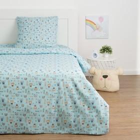 Детское постельное бельё Экономь и Я «Миша» 1.5сп, цвет голубой, 147х210±5см, 150х214±5см, 70х70±5см - 1шт