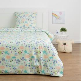Детское постельное бельё Экономь и Я «Сова» 1.5сп, цвет зелёный, 147х210±5см, 150х214±5см, 70х70±5см - 1шт