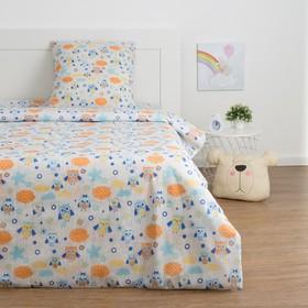 Детское постельное бельё Экономь и Я «Сова» 1.5сп, цвет серый, 147х210±5см, 150х214±5см, 70х70±5см - 1шт