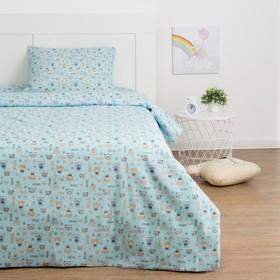 Детское постельное бельё Экономь и Я «Миша» 1.5сп, цвет голубой, 147х210±5см, 150х214±5см, 50х70±5см - 1шт