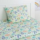 Детское постельное бельё Экономь и Я «Сова» 1.5сп, цвет зелёный, 147х210±5см, 150х214±5см, 50х70±5см - 1шт - фото 105556901