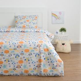 Детское постельное бельё Экономь и Я «Сова» 1.5сп, цвет серый, 147х210±5см, 150х214±5см, 50х70±5см - 1шт