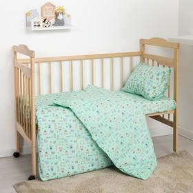 Детское постельное бельё Экономь и Я «Миша» бейби, цвет зелёный, 145х112, 100х150, 40х60 см - 1шт