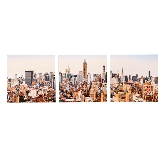 """Модульная картина """"Нью-Йорк"""" 111х37 см (3 - 37х37см)"""