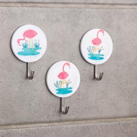 "A set of hooks for bath 3 pieces ""Flamingo"" pattern MIX"