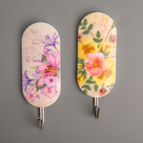 """A set of hooks on the Velcro 2 piece """"wild flowers"""" MIX color"""
