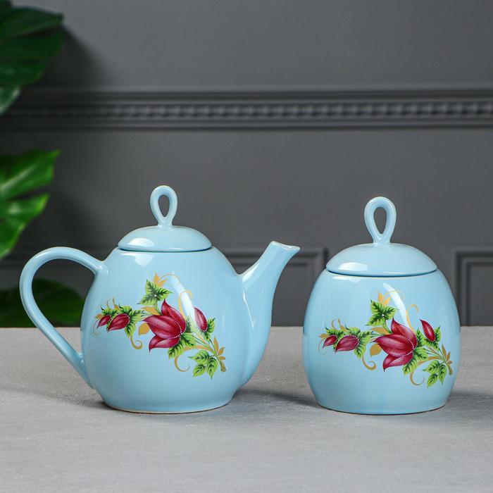 """Набор чайный """"Петелька"""", 2 предмета, голубой, цветы, 0.8/0.5 л, деколь микс - фото 236765"""