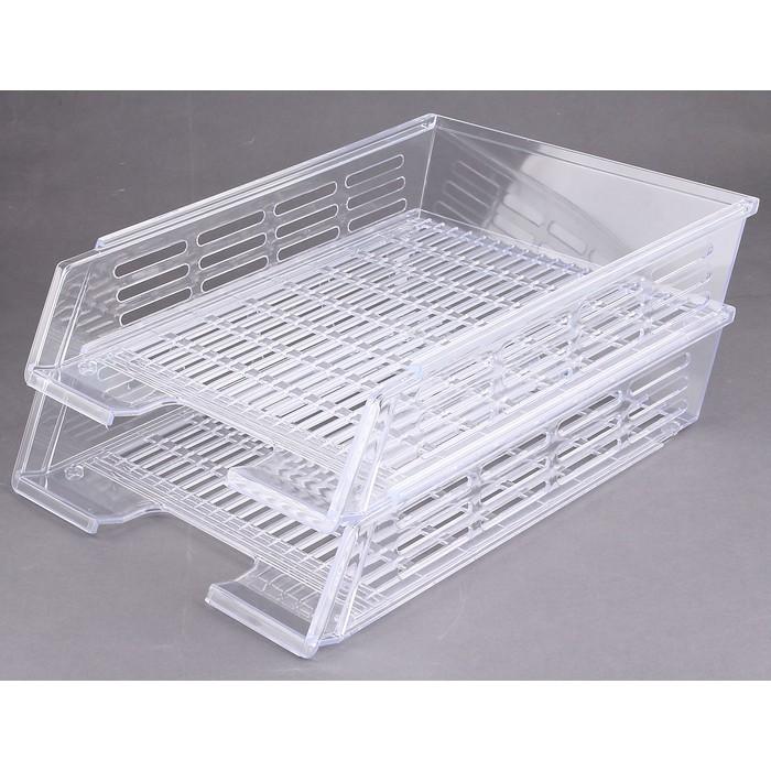 Набор лотков для бумаг горизонтальных с пазами 2 штуки, прозрачный