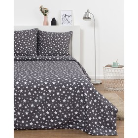 Постельное бельё Евро Эталоника «Звезды» цвет серый, 205х217см, 220х240 см, 70х70 см - 2шт