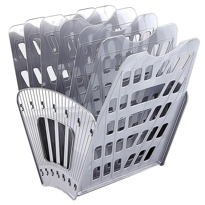 Лоток-веер 7 секций, 6 отделений, серый металлик