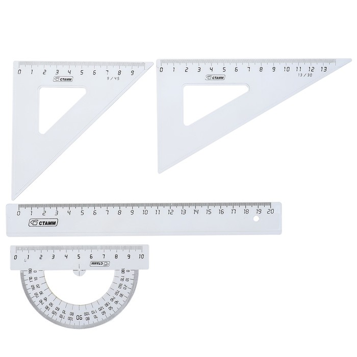 Набор геометрический средний: линейка 20 см, треугольник 9 см 45*, треугольник 13 см 30*, транспортир 10 см 180*