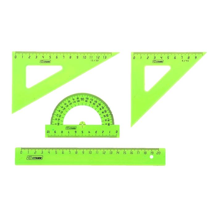 Набор геометрический средний: линейка 20 см, треугольник 9см 45*, треугольник 13 см 30*, транспортир 10 см 180*. NEON Cristal, микс