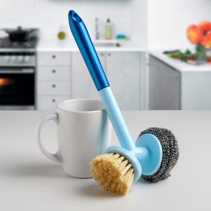 Щётка для мытья посуды 2 в 1, 25×12×6,5 см, цвет МИКС