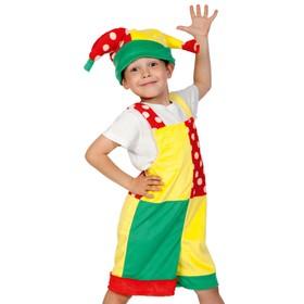 Карнавальный костюм «Скоморох», плюш, полукомбинезон, колпак, рост 92-122 см