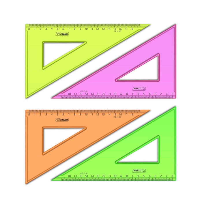 Треугольник 18см 30* «Стамм» NEON Cristal, микс