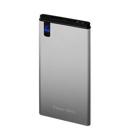 Внешний аккумулятор LuazON, 8000 мАч, USB, 2.1 А, дисплей, тонкий корпус, металл, серый