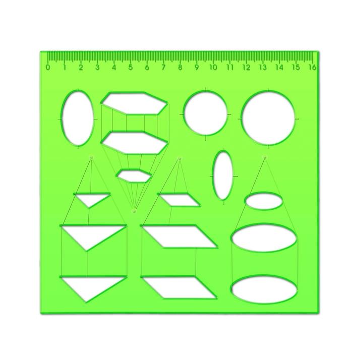 Трафарет стереометрии светло-зеленый, с отливной шкалой