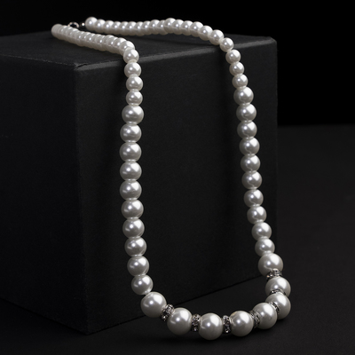 Beads pearls Bride beads of different sizes, with crystals d=0.5 to 1.5, color white