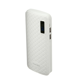 Внешний аккумулятор LuazON, 6000 мАч, 2 USB, 1 А, дисплей, фонарик, белый