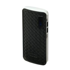 Внешний аккумулятор LuazON, 6000 мАч, 2 USB, 1 А, дисплей, фонарик, чёрный