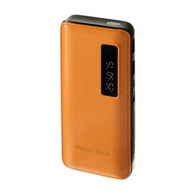 Внешний аккумулятор LuazON, 7500 мАч, 2 USB, 1 А, дисплей, фонарик, коричневый