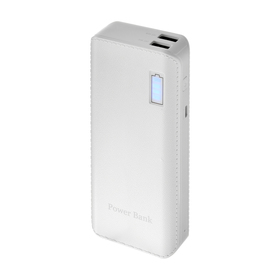 Внешний аккумулятор LuazON, 7500 мАч, 2 USB, 1 А, индикатор зарядки, белый